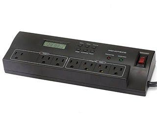 Product Image for 7 Outlet Power Surge Protector w/ Dual Timer Controller Zones & 2 USB Port - 2100 Joules - Plastic w/ 4ft Cord