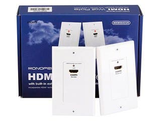 Product Image for Monoprice HDMI Over Cat5e / Cat6 Extender Wall Plate (Pair), Single Port (1P), White