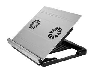 Product Image for Adjustable Aluminum Laptop Riser Cooling Stand with Built-In 70mm Fan, Black