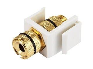 Product Image for Monoprice Keystone Jack - Banana Jack w/Black Ring (Screw Type) - White