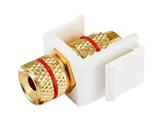 Product Image for Keystone Jack - Banana Jack w/Red Ring (Screw Type) - White
