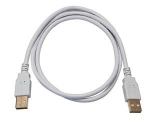 Product Image for Monoprice USB-A to USB-A 2.0 Cable - 28/24AWG, Gold Plated, White, 3ft