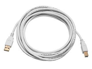 Product Image for USB-A to USB-B 2.0 Cable - 28/24AWG, Gold Plated, White, 10ft
