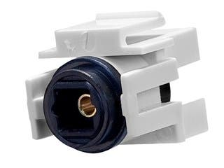 Product Image for S/PDIF (Toslink) Digital Optical Audio Keystone Jack, Female to Female Coupler, White