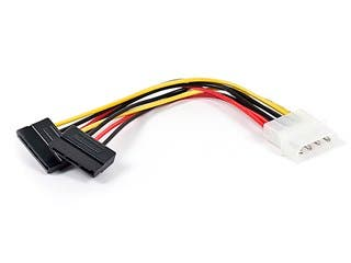 Product Image for 6inch SATA Serial ATA Splitter Power Cable(1 X 5.25 to Two (2) 15pin SATA Power Connector)