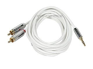 Product Image for Monoprice 6ft Designed for Mobile 3.5mm Stereo Male to RCA Stereo Male (Gold Plated) - White