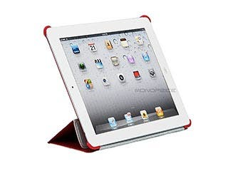 Product Image for Monoprice Synthetic Leather Stand/Cover with Magnetic Latch for iPad® 2, iPad 3, iPad 4 - Red