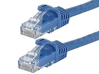 Product Image for Flexboot Cat6 Ethernet Patch Cable - Snagless RJ45, Stranded, 550Mhz, UTP, Pure Bare Copper Wire, 24AWG, 100ft, Blue